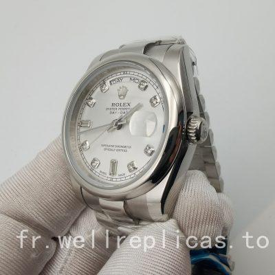 Rolex Day-Date 118209 36mm Cadran Argenté Boîtier Or Blanc 18 Carats & Oyster