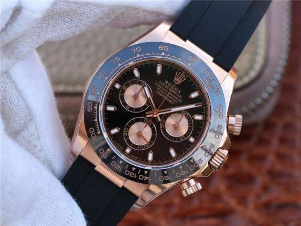 Rolex Daytona 116515ln Replica Montre Roulette Noire Et Rose 40mm Homme